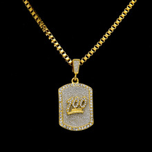 2017 gold color bling bling one hundred dog tag jesus pendant necklace iced out 70cm long necklaces fashion hip hop jewelry(China)
