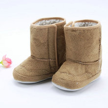 2017 Cute Super Warm Winter Baby Ankle Snow Boots Infant Shoes Pink Khaki Antiskid Keep Warm Baby Shoes First Walkers(China)