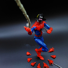 HHIHHA The Amazing Spider-Man COS Firemen Hat Water Gun Captain America3 Marvel Avengers PVC 17cm Collectible Action Figure Hand