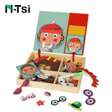 N-Tsi Wooden Kids Educational Toys Magnetic Puzzles Game Set Easel Dry Erase Board Fun Reusable Stickers for Children Gift(China)