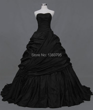 2017 New Design Real Sample Ball Gown Princess Pleat Sweetheart Floor Length Black Musilim Wedding Dress Bridal Gown