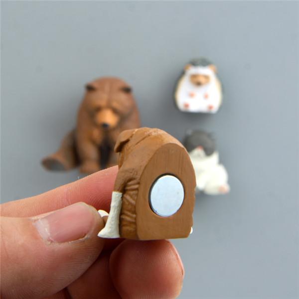 Cute Lazy Sitting Pets Animals Bear Cat Dog Hedgehog Lifelike pvc toys fridge magnets - 11