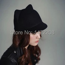 Free Shipping Autumn And Winter Women's Hats Female Dome Woolen Small Fedoras Cat Ears Devil Caps Lady's Fedoras(China)