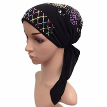 Muslim Cotton Full Cover Inner Hijab Cap Islamic Head Wear Hat Underscarf with Belt Bandage Beautiful Sequins(China)