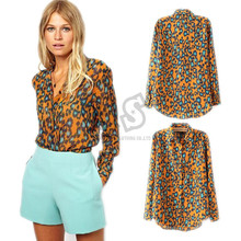 New SUmmer Autumn Leopard Print Blouses Women Blouses & Shirts Long Sleeve women's Blusa Femininas Blusa De Renda G1178