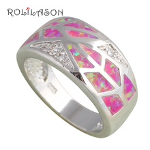 2016 New Arrival Purple fire Opal Silver Stamped Rings Zircon Wholesale & Retail fashion Jewelry USA sz #8 #9.5 #6.5 #8.5 OR655