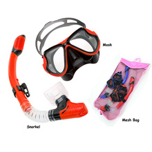 Professiona diving and snorkeling gears Twin lens Scuba mask dry snorkel set durable meshbag for package top diving swimming kit
