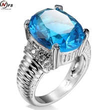NFS Antique Claw Rings Ocean Blue Stone Light Blue Stone Jewelry Women/Men Engagement Band White Gold Filled Wedding
