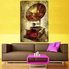 2017 Vintage painting Antique Phonograph Retro crafts metal wall art decoration house bar coffee decor wall free shipping