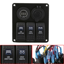 Blue LED Rocker Switch Panel Circuit Breakers Color Display Voltmeter Waterproof Car Auto Automotive Boat Marine For Caravan