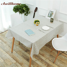 Awillhome White Tablecloths Home Rectangle Tablecloths Modern Geometric Linen Dining Table Cloths Factory Table Covers Party New(China)