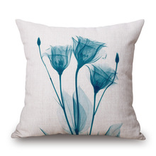Tulip Flowers Pillowcases Vintage Cotton Linen Pillow Case Cover Living Room Bed Chair Seat Waist Throw Cushion Case