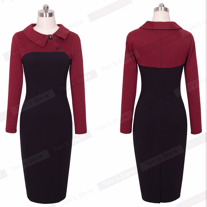 Nice-forever Elegant Vintage Fitted winter dress full Sleeve Patchwork Turn-down Collar Button Business Sheath Pencil Dress b238 28