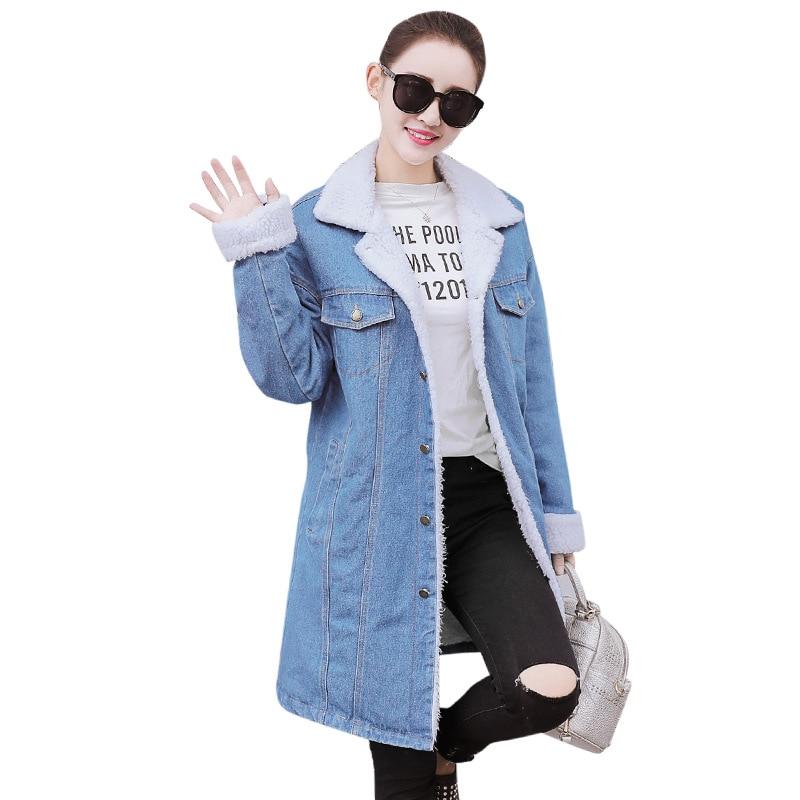 HIGH QUALITY Fashion Denim Jacket Cashmere Thick Pockets StraightWarm Blue Coat 2017 Autumn Winter Jacket Women Parkas B768Îäåæäà è àêñåññóàðû<br><br>