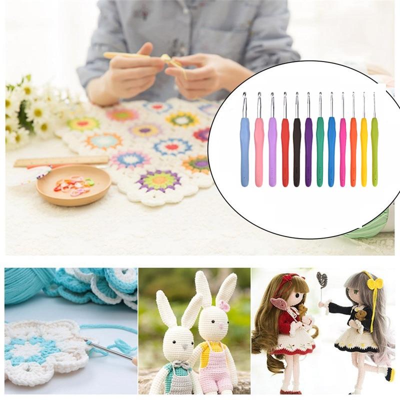 12pcs Crochet Hooks Set Ergonomic Multicolor 2.0-8.0mm Knitting Needles Soft Rubber Handle Crochet Needles For Any Yarn Weave (4)