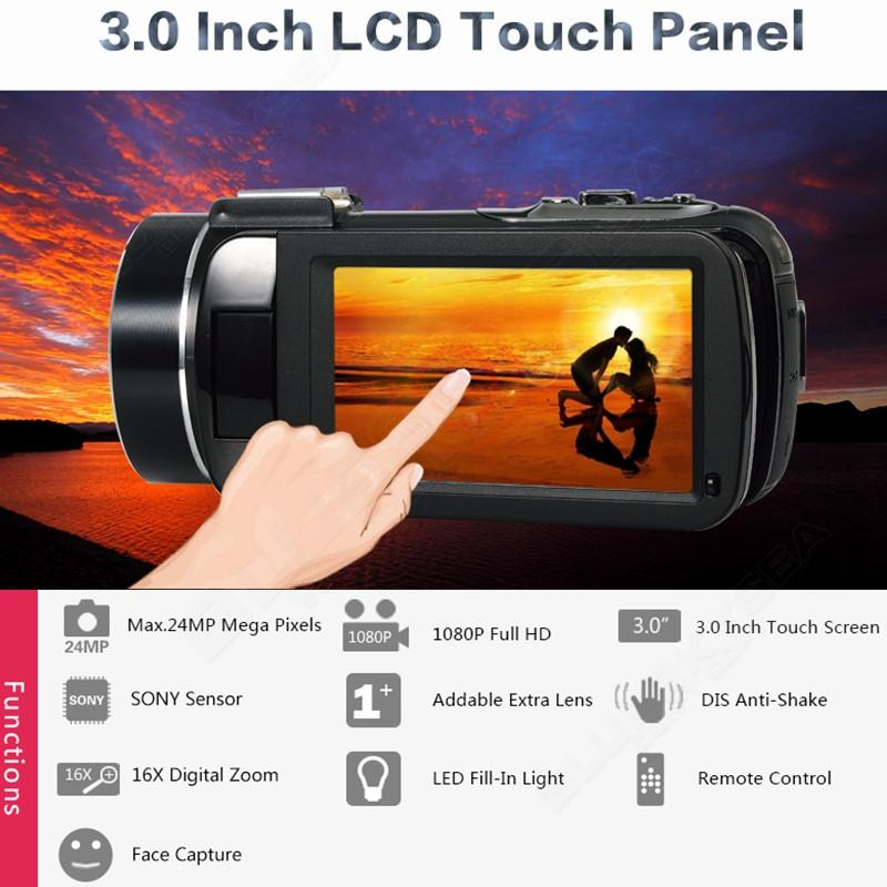 """ORDRO HDV-Z Digital Video Camera Camcorder 3.0"""" Touch Screen 1080P Full HD 16X Zoom 24MP Face Detection LED Fill-in Light DV 5"""