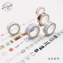 10 Designs Vintage Stamp Series Retro Japanese Washi Tape DIY Decorative Sticker Masking Tape for Traveler's Notebooks