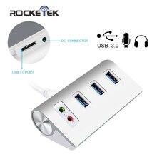 Rocketek USB Алюминий концентратор USB 3.0 узлов 3 Порты и разъёмы Мощность Интерфейс с внешними стерео звук адаптер Для iMac MacBook Air ПК(China)