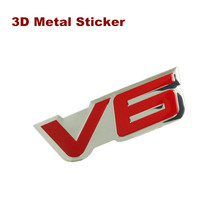 New 3D Aluminum Alloy V6 Logo Chrome Emblem Badge Auto Car Sticker for NISSAN FORD Benz TOYOTA REIZ CROWN KIA