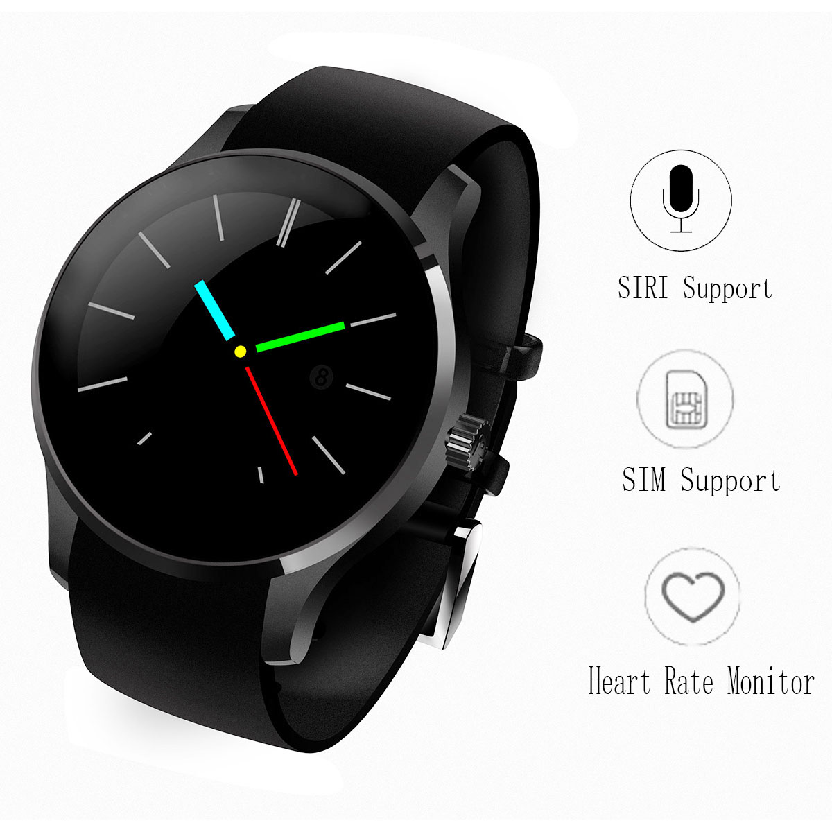 Round GSM Bluetooth Smartwatch Phone K88S Smart Watches Heart Rate Monitor Clock for Apple Android Support Remote Camera SIRI<br><br>Aliexpress