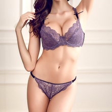 New 2016 Fashion Style Underwear Women Embroidery Sexy Large Size Transparent Lace Bra and panty set 36 38 40 42 C D Cup(China)