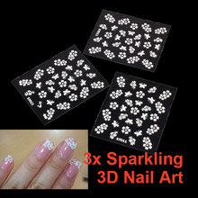 3pcs DIY Tips Sparkling 3D Nail Seal Cosmetic Sticker Decal Flower Makeup Nail Art