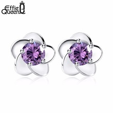 Effie Queen Flower Earring Stud,2 color Purple &Silver Material with Austria Crystal Earrings WE15(China)