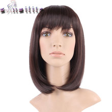 S-noilite 100% Real Natural 16inches 160g Silky Straight Dark brown Party BOB Hair Wig Synthetic Wigs with Bangs Full Head(China)