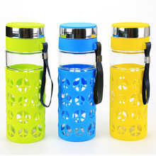 Creative Portable Glass Water Bottle 800 ML Creative Water Bottle Health Bottle for Travel bottles Blue Green Yellow bouteille