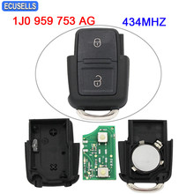 2 Button Remote Control Car Key Part 434MHZ HLO 1J0 959 753 AG 1J0959753AG for Volkswagen for VW Bora Golf Passat Polo Fabia(China)