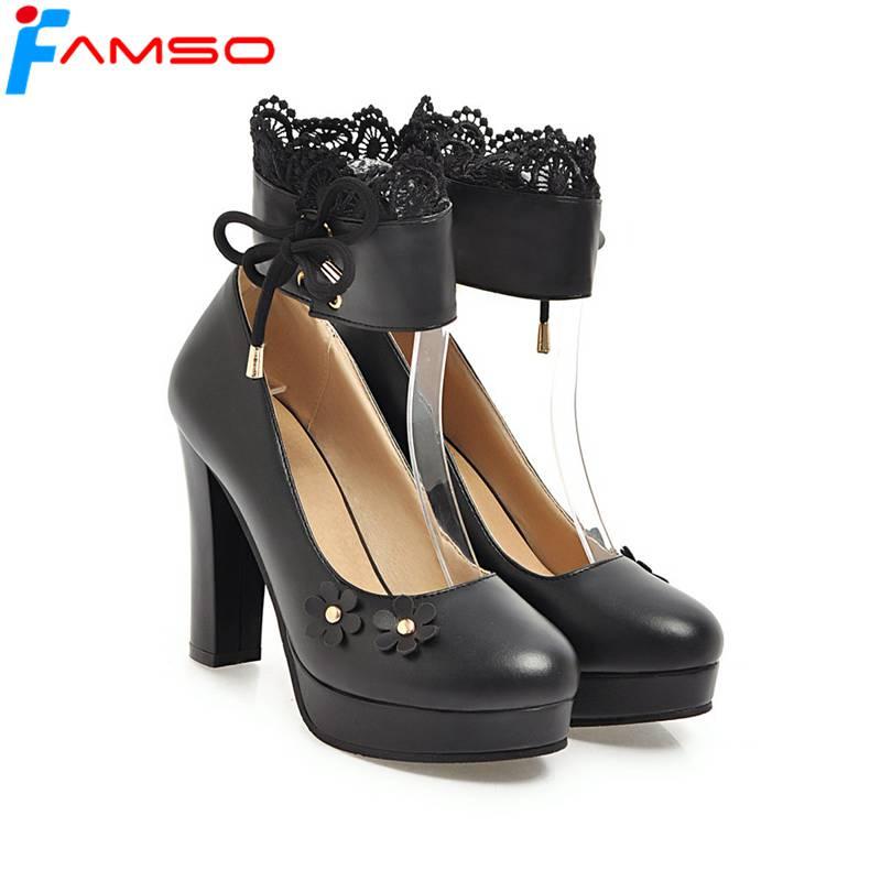 FAMSO 2018 New Women Pumps  Black Pink White High Heels Flowers Platforms Pumps Ankle-Wrap Ruffles Autumn Platforms Pumps<br>