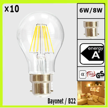 WHOLESALE 10 pieces 6W or 8W LED bulb A60 A19 global bulbs clear glass filamento bombilla Bayonet B22 360 degree CRI>80Ra