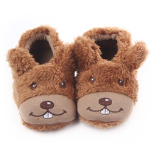 Baby Winter Crib Shoes Cartoon slippers Newborn Infant Toddler Home Footwear Plush Warm Indoor Child Boys loafers for Little Kid(China)