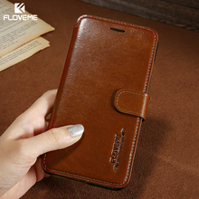 FLOVEME Retro Real Genuine Leather Phone Case For iPhone 6 7 6S Cases For iPhone 6 Plus 6S Plus Card Cash Holder Flip Cover Capa(China)