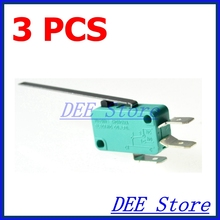 micro contact switch 3 Pcs AC 250V 16A SPDT 1NO 1NC 3Pin Long Straight Hinge Lever Microswitch Green
