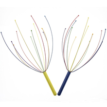 1Pcs Rainbow Blue Or Yellow Handle Tingle Head Massager Hand Held Scalp Massager