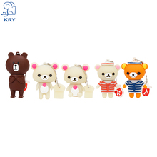 KRY Pendrive Creative Cartoon Bear U Disk Memory Stick USB 2.0 4GB 8GB 16GB 32GB 64GB Cute Bear usb flash drive Free Shipping(China)