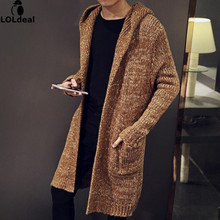 Autumn Winter Loose Long Mens Cardigans Sweaters New Fashion Big Size Jumpers Mens Hooded Sueter Knit Sweater Jersey