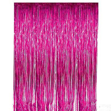 3 ft. x 8 ft Metallic  Fuschia Foil Fringe Curtain Shimmer Curtain Birthday Decor New Christmas New Year Decorations