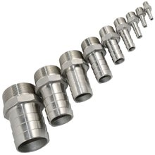 "1/2"" Male Thread Pipe Nipple Fitting x Barb Hose Tail Connector Stainless Steel NPT"