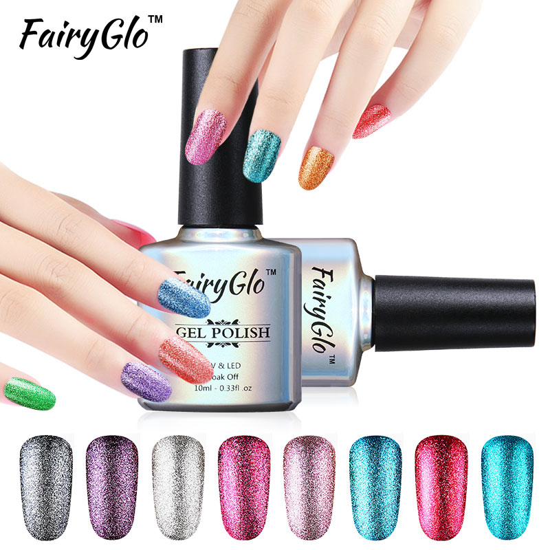 FairyGlo 10ml Glitter UV Led Gel Polish Platinum Nail Gel Polish Soak off GelPolish GelLak Semi Permanent Gel ink Lucky Shilak(China (Mainland))