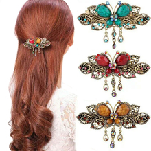 Haimeikang Vintage Women Turquoise Butterfly Flower Tassel Hairpins Hair Clip Crystal Butterfly Bow Hair Clip Hair Accessories(China)