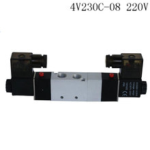 "Pnematic Solenoid Valve 5/3 5 Way 3 Position 1/4"" BSP 4V230C-08 Double Coil Center Closed LED Light  AC220v"