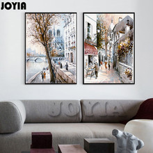 Abstract Street Canvas Art Painting Sketch European Paris City Scenery Print Style Oil Painting Decor Pictures 2 Panels No Frame(China)