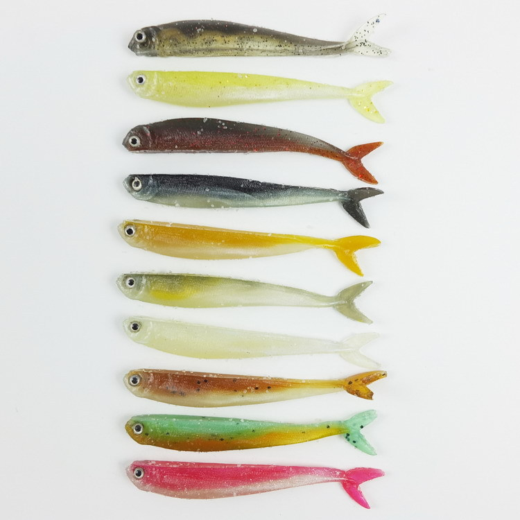 90PCS Soft bait 10 colors fishing tackle 8.9CM/3.1G fishing lures Soft lures isca artificial para pesca<br>