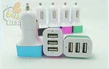 3usb Colorful durable Universal 4.1A 12V 3 USB Port matel Car Charger Adapter For iPhone 7 6 5 4 Samsung S6 S7 300 pcs
