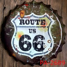 USA ROUTE 66 Road Bottle Cap Decorative Metal Plate Plaque Vintage Pub Wall Art Metal Sign Vintage Home Decor 35 CM(China)