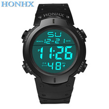2016 HONHX Hot Sale Fashion Waterproof Men's Boy LCD Digital Stopwatch Date Rubber Sport Wrist Watch Nov 10