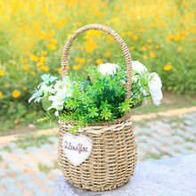 WHISM Straw Storage Basket Artificial Flower Green Plant Rattan Basket Pots with/without Handle Home Office Shop Garden Decor(China)