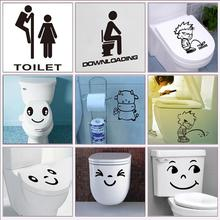 toilet sign decorative stickers waterproof bathroom wrest room decor diy wall decals vinyl pvc mural art creative posters(China)